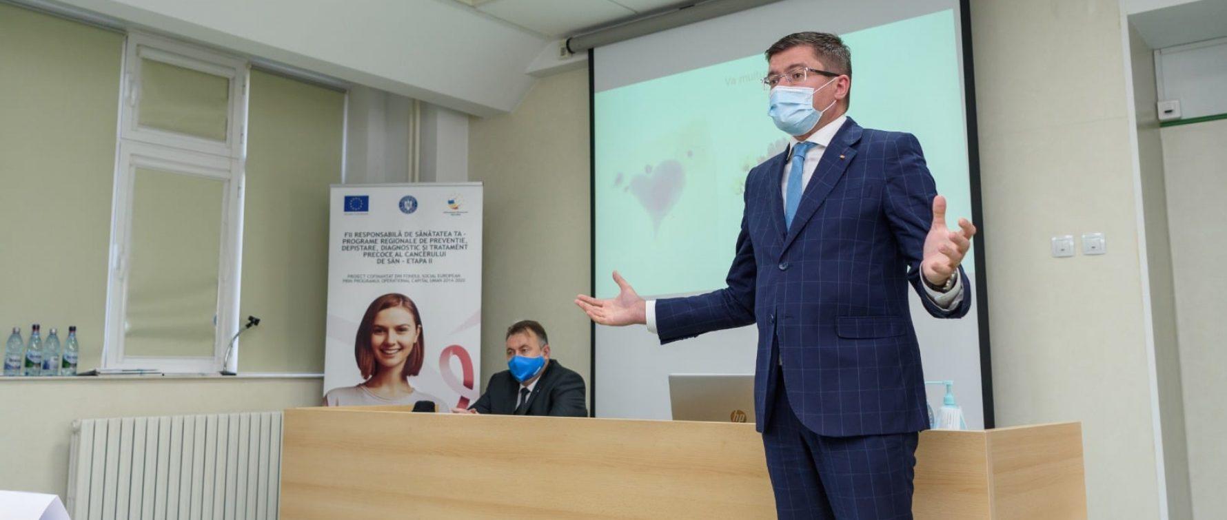 Grijă pentru sănătate: Costel Alexe a participat la lansarea unui program regional de prevenție, depistare, diagnostic și tratament precoce al cancerului de sân